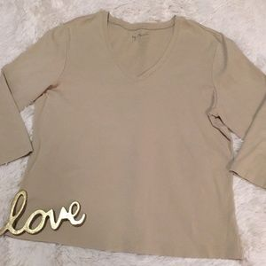 BY CHICO'S Stretch V Neck Solid Beige 3/4 Sleeve